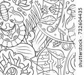 seamless mehndi vector pattern. ... | Shutterstock .eps vector #732604435