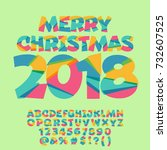 vector merry christmas greeting ... | Shutterstock .eps vector #732607525
