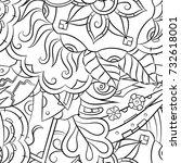 seamless mehndi vector pattern. ...   Shutterstock .eps vector #732618001