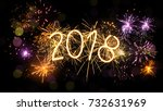 new year 2018 sparkler sign and ... | Shutterstock . vector #732631969
