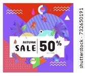 autumn sale memphis style web... | Shutterstock .eps vector #732650191