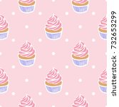 seamless pattern of cupcakes on ... | Shutterstock .eps vector #732653299