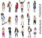 diverse of young girls children ... | Shutterstock . vector #732654019