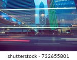 traffic trails in downtown hong ... | Shutterstock . vector #732655801