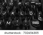 "Small photo of Finnish vintage typewriter including uppercase ""Vaihto"" (Shift), letter O with diaeresis, combining diaeresis, and arrow keys."