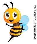 cartoon cute bee pointing....