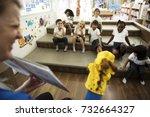 kindergarten students sitting... | Shutterstock . vector #732664327