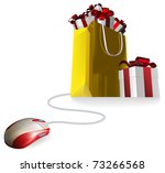 Mouse attached to a shopping bag with giftst concept. Buying gifts by online shopping or being given gifts for surfing the web or buying online. - stock vector