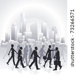 Groups of business people rushing in front of city skyline - stock vector