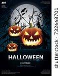 halloween poster template... | Shutterstock .eps vector #732668701
