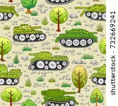 seamless pattern with cartoon... | Shutterstock .eps vector #732669241