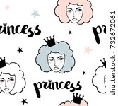 seamless pattern with princess. ... | Shutterstock .eps vector #732672061