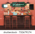 Stock vector beer bar restaurant vector banner of interior with bar counter bar chairs and shelves with 732679174