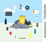 garbage dump or landfill card... | Shutterstock .eps vector #732681484