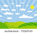 green meadows and cloudy sky in ... | Shutterstock .eps vector #73269145