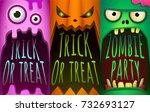 halloween set. monster  pumpkin ...   Shutterstock .eps vector #732693127