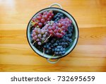 red and white grapes on wooden... | Shutterstock . vector #732695659