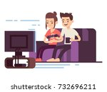 happy young couple watch tv... | Shutterstock .eps vector #732696211
