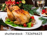 baked turkey or chicken. the... | Shutterstock . vector #732696625