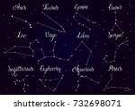 zodiac constellations set with... | Shutterstock .eps vector #732698071