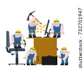 mining bitcoin. mining pool... | Shutterstock .eps vector #732701947