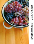 red and white grapes on wooden... | Shutterstock . vector #732705205