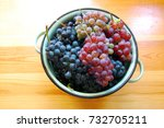 red and white grapes on wooden... | Shutterstock . vector #732705211