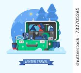 winter suitcase full of... | Shutterstock .eps vector #732705265