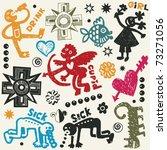 crazy doodle set  hand drawn... | Shutterstock .eps vector #73271056