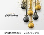 christmas greeting card  design ... | Shutterstock .eps vector #732712141