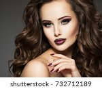 beautiful young  woman with... | Shutterstock . vector #732712189