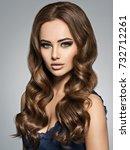 beautiful caucasian woman with... | Shutterstock . vector #732712261