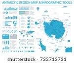 antarctic region map   detailed ... | Shutterstock .eps vector #732713731
