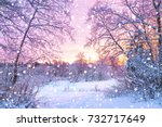 beautiful winter landscape with ... | Shutterstock . vector #732717649