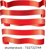 red ribbons set | Shutterstock .eps vector #732722749