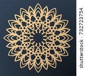 laser cutting mandala. golden... | Shutterstock .eps vector #732723754