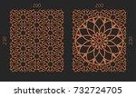 laser cutting set. woodcut... | Shutterstock .eps vector #732724705