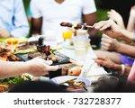 group of people having bbq...   Shutterstock . vector #732728377