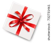 gift box with red bow | Shutterstock . vector #732731461