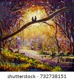 original oil painting lovers in ... | Shutterstock . vector #732738151