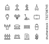 funeral icon set. collection of ... | Shutterstock .eps vector #732738745