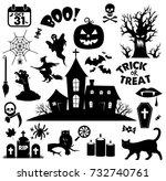 halloween icon set vector ... | Shutterstock .eps vector #732740761