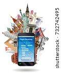 smartphone online flight... | Shutterstock .eps vector #732742495