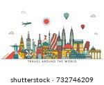 world skyline. travel and... | Shutterstock .eps vector #732746209