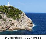 majorca   lighthouse on a cliff ... | Shutterstock . vector #732749551