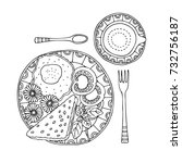 hand drawn breakfast. sketch... | Shutterstock .eps vector #732756187