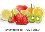 many fruits on white background | Shutterstock . vector #73276060