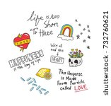 cool t shirt design in doodle... | Shutterstock .eps vector #732760621