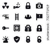 16 vector icon set   nuclear ... | Shutterstock .eps vector #732771919