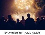 crowd watching fireworks | Shutterstock . vector #732773305